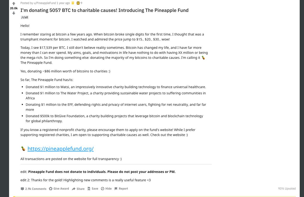 The original /r/bitcoin post on reddit