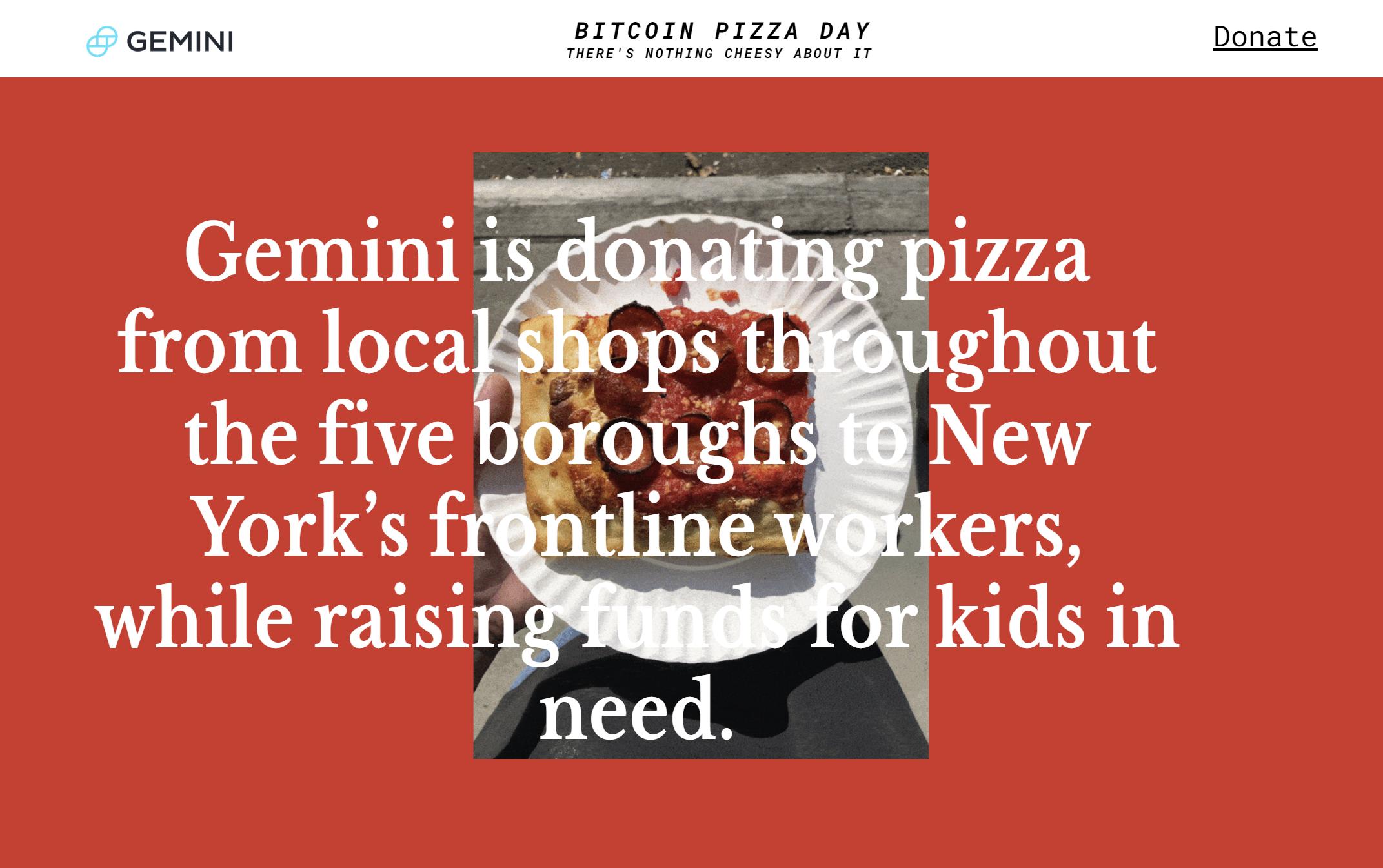 Case Study: Gemini Bitcoin Pizza | The Giving Block